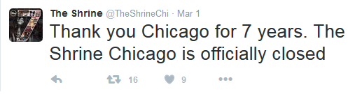 A post to their Twitter page confirms the offical closing of The Shrine nightclub.
